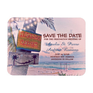 Save the Date Romantic String Light Beach Wedding Magnet