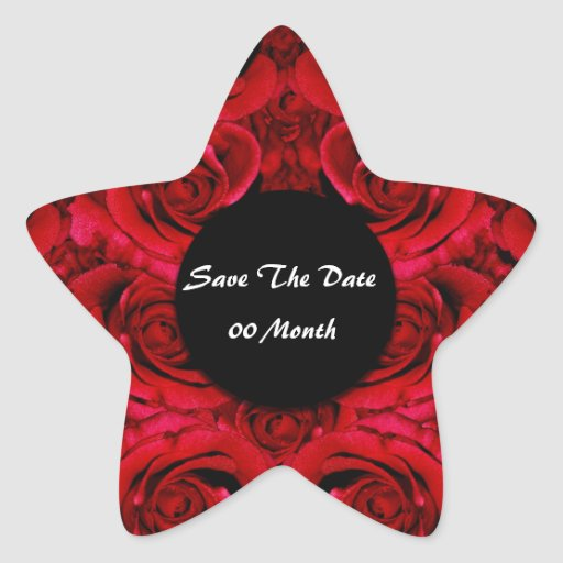 Save the date rose flower star sticker