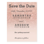 Save the Date rose gold faux glitter pink ombre Postcard