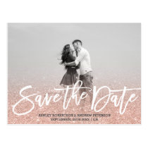Save the Date rose gold faux glitter pink photo Postcard