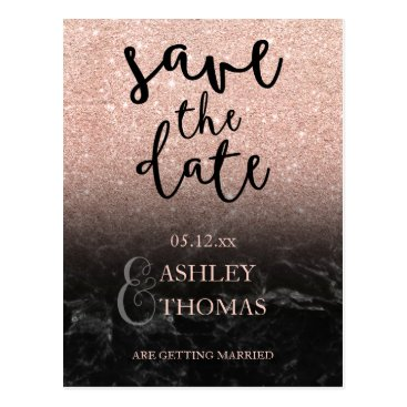 Beach Themed Save the Date Rose gold glitter marble script Postcard