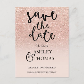 Save the Date Rose gold glitter pink ombre script Announcement Postcard