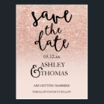 "Save the Date Rose gold glitter pink ombre script Postcard<br><div class=""desc"">Save the Date Rose gold faux glitter pink ombre typography. Send your save the date card with this modern,  original and simple faux rose gold glitter ombre wedding on a fully customizable blush pink color background. Perfect for chic,  elegant theme wedding</div>"