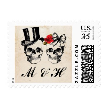 Wedding Themed Save The Date Rose Skull Wedding Halloween Postage