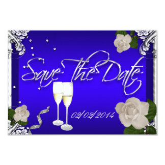 Save The Date Royal Blue Anniversary Wedding 3.5x5 Paper Invitation Card