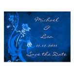 Save the Date Royal Blue Floral Design Postcard