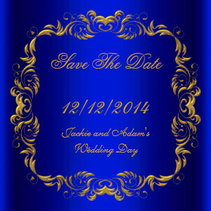 Save The Date Royal Blue Gold Magnet
