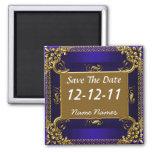 Save the Date Royal Blue Gold Magnet Refrigerator Magnet