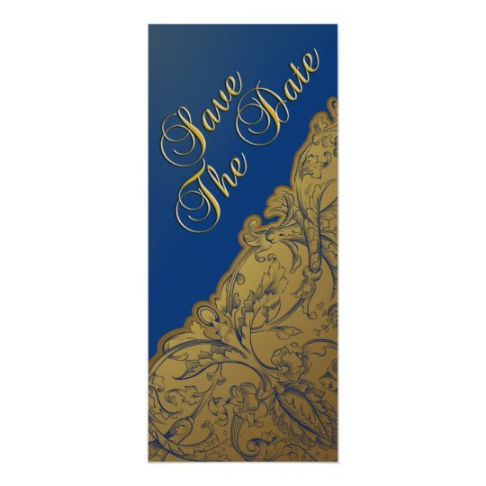Save The Date - Royal Blue & Gold Vintage Card