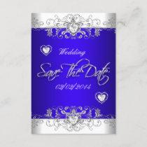 Save The Date Royal blue Wedding White Diamond Hea