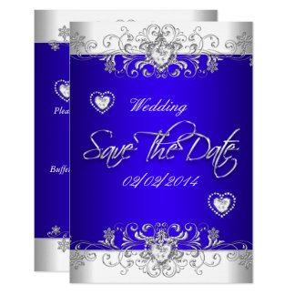 Save The Date Royal blue Wedding White Diamond Hea Card