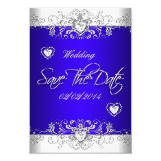 Save The Date Royal blue Wedding White Diamond Hea Card