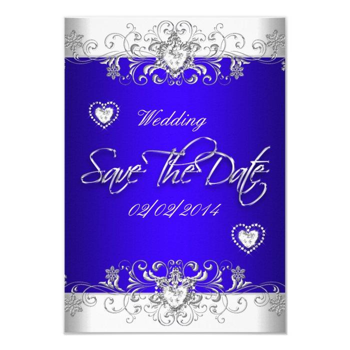 Save The Date Royal blue Wedding White Diamond Hea Card ...