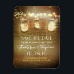 """Save the Date Rustic Barn Wood Mason Jars Magnet<br><div class=""""desc"""">String lights and rustic barn mason jar save the date magnets</div>"""