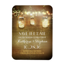 Save the Date Rustic Barn Wood Mason Jars Magnet