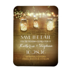 Save The Date Rustic Barn Wood Mason Jars Magnet at Zazzle