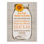 save the date rustic burlap mason jar sunflower postcard