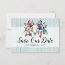 Save The Date Rustic Floral Cow Skull Boho Wedding