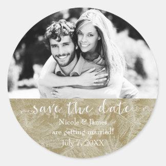 SAVE THE DATE Rustic Kraft Paper Winter Photo Classic Round Sticker