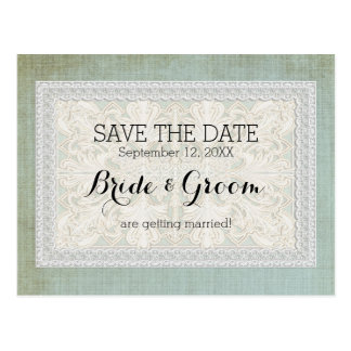 Save the Date Rustic Lace w Aged Vintage Linen Postcard