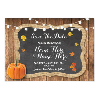 Save The Date Rustic Pumpkin Lights Chalk Wood Card