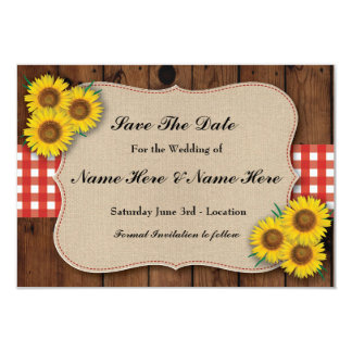 Save The Date Rustic Sunflower Red Check Card