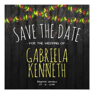 Save the Date Rustic Tropical Hot Peppers Card