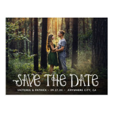 Save the Date Rustic Typography Photo Wedding Postcard