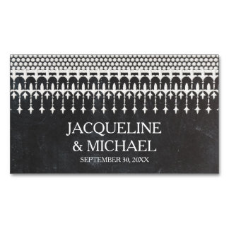 Save the Date Rustic Vintage Lace Chalkboard Magnetic Business Cards (Pack Of 25)