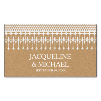 Save the Date Rustic Vintage Lace Kraft Paper Magnetic Business Cards (Pack Of 25)