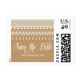 Save the Date Rustic Vintage Lace Kraft Paper Stamp