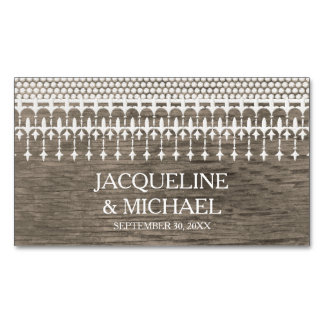 Save the Date Rustic Vintage Lace Wooden Board Magnetic Business Cards (Pack Of 25)