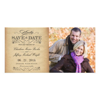 Save the Date Rustic Vintage Weddings Photo Card Template