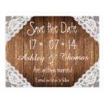 Save the Date Rustic Vintage White Lace Brown Wood Postcard