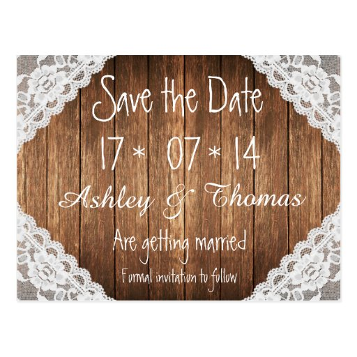 Save the Date Rustic Vintage White Lace Brown Wood Post Cards
