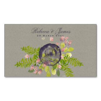 SAVE THE DATE RUSTIC VIOLET YELLOW WILD FLOWERS BUSINESS CARD MAGNET