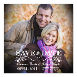 Save the Date Rustic Wedding Square Magnetic Photo Magnetic Card