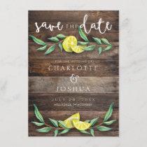 SAVE THE DATE | Rustic Wood Lemon Wedding Card