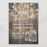Save The Date Rustic Wood Mason Jar String Lights