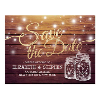 Save The Date Rustic Wood Mason Jar String Lights Postcard