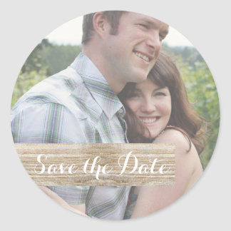 Save the Date Rustic Wood Photo Sticker