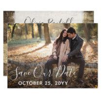 Save The Date Rustic Wood Wedding Custom Photo Invitation