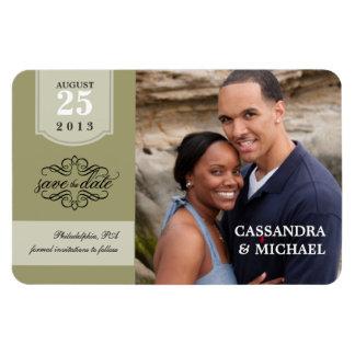 Save the Date - Sage Custom Photo Rectangular Photo Magnet