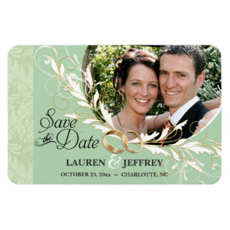 Save the Date - Sage & Mint Damask Photo Magnets