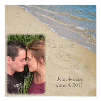Save the Date - Sand and Water Custom Photo 5.25x5.25 Square Paper Invitation Card