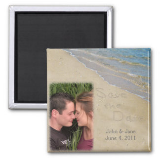 Save the Date - Sand and Water Custom Photo Refrigerator Magnets