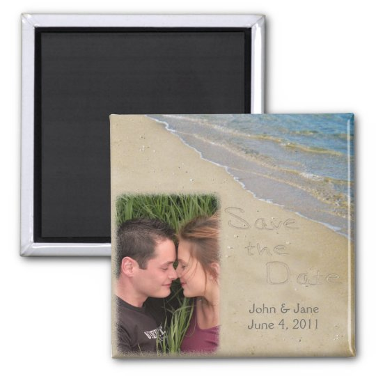 Save the Date - Sand and Water Custom Photo Magnet