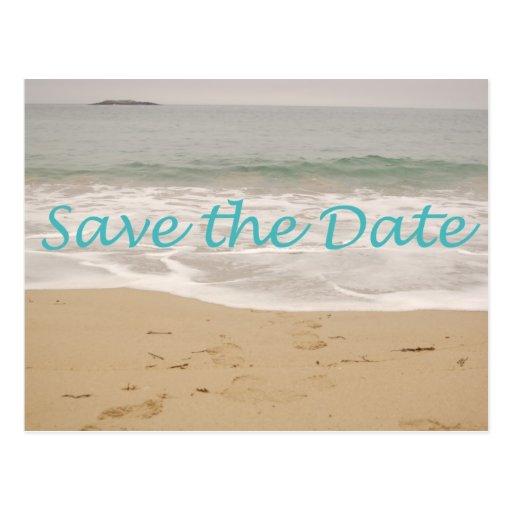 Save the Date Sand Beach Image Postcard