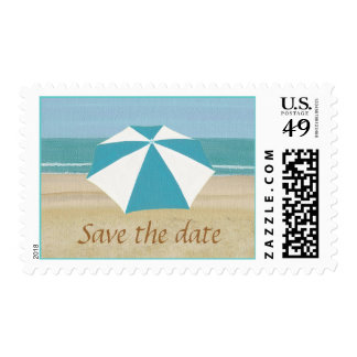 Save the date, Sandy beach, ocean, umbrella Stamps