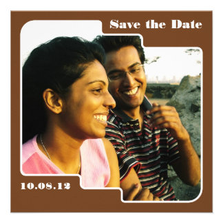 Save the Date Scallop Brown Save the Date Invites